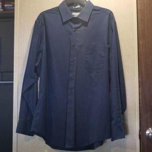 Van Heusen Men's Dress Shirt Chambray Navy Size